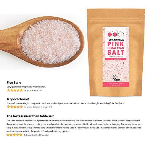 Pipkin 1kg Sal Rosa del Himalaya Natural, Tamaño 0.3-1mm, Alimento Gourmet Premium...