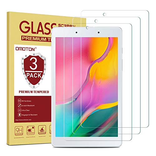 [3 Pack] OMOTON Screen Protector for Samsung Galaxy Tab A 8.0 2019 Released (Wi-Fi Version SM-T290), Tempered Glass/ High Definition/ Bubble Free