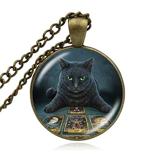 CLEARNICE Colgantes De Cúpula De Vidrio Vintage Collar De Colgante De Wicca De Gato Negro Pentagrama Mágico Wiccan Witch Cat Collares Joyería