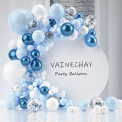 VAINECHAY Kit Anniversaire Garçon, Arche Ballon Anniversaire, Blue Ballons Marriage Confettis Latex avec Ruban Outil pour Garçons Bébé Douche décor