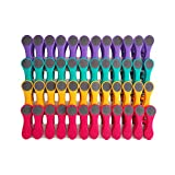 Pinzas para colgar la ropa - Tacto suave y extremos blandos - Morado, azul turquesa, amarillo, rosa, gris - 48 unidades