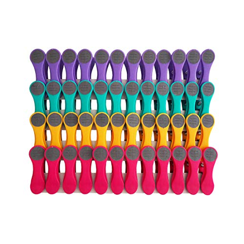 Pinces à linge - pince en matière douce et adhérente - violet/turquoise/jaune/rose/gris - 48 pinces
