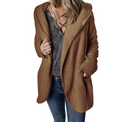 Deelin dames winter, populair, modieus, warm, pure kleur, pluche, mantel met capuchon, casual, imitatiebont, cardigan, trainingspak