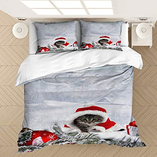 CQLXZ Christmas Duvet Cover,Microfiber fabric,3D printed realistic pattern, Eco Soft Breathable Bedding Set,for Kids Adults Xmas Gift New Year Decor (K,King 220x240cm)