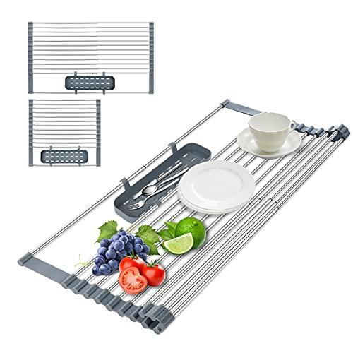 Abtropfgestell Geschirr für küche, Teleskop Abtropfkorb, Aufrollbares Geschirrabtropfgestell mit Besteckkorb, Abtropfschale rostfrei, die Küchenspüle Geschirrtrockner Abtropfgitter für Obst Gemüse