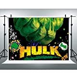 SDDSER 7x5ft Green Super Hero Party Backdrop Comics Monster Giant Photography Background for Children's Birthday Party Photo Booth Studio Props SDZY52