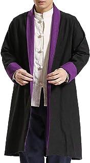 XINHEO Mens Textured Martial Arts Open Front Linen Blend Overcoat