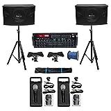 Rockville Karaoke Machine System w/(2) 10' Speakers+Bluetooth Pro Mixer Amp+Mics + Rockville R14GSBR100 Red/Blk 14 Gauge 100' Ft. Mini Spool Car Audio Speaker Wire
