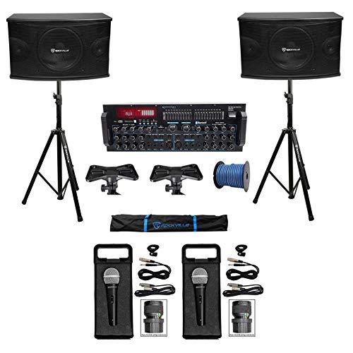"Rockville Karaoke Machine System w/(2) 10"" Speakers+Bluetooth Pro Mixer Amp+Mics + Rockville R14GSBR100 Red/Blk 14 Gauge 100' Ft. Mini Spool Car Audio Speaker Wire"