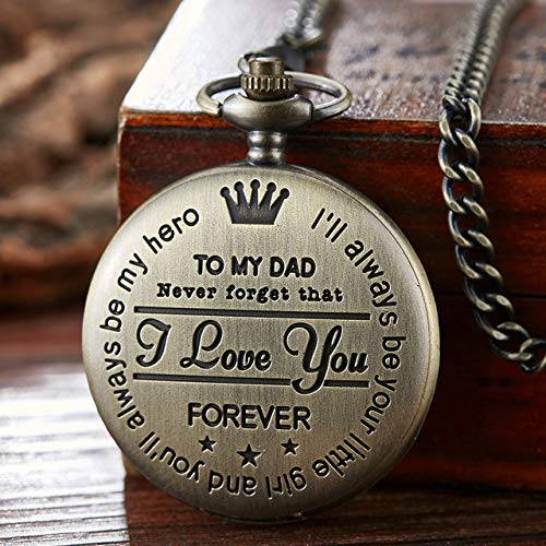 KUELXV sportinggoodsPocket Watch to My DAD I Love You Laser Engraved Quartz Flip Clock for Daddy Birthday Father\'s Day Present Fob Chain Clock Gift,Bronze