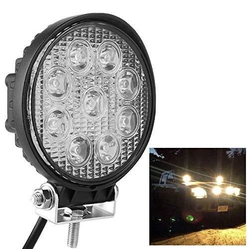 Luoshan Forma Ronda de 27W 2150lm Bridgelux 9 LED de luz Blanca de la lámpara del Condensador Ingeniería / IP67 SUV Luz, DC 10-30V (Negro) (Color : Black)