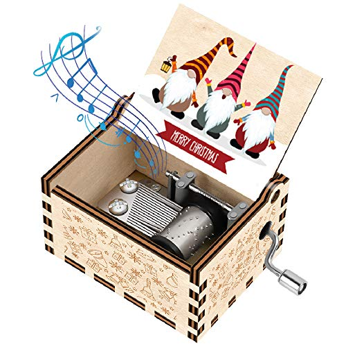 Officygnet Christmas Music Boxes Gifts for Kids/Girlfriend/Woman/Daughter/Wife/Boys/Girls, Gnome Santa Hand Crank Wooden Music Box for New Year/Holiday/Birthday/Christmas Party Gifts (Wood)