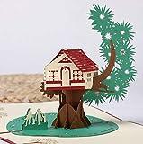 BC Worldwide Ltd handgemachte 3D Pop-up-Grußkarte Tree House Familiengeburtstagskarte, Hochzeitstag, Muttertag, Vatertag Umzugsparty Einladung