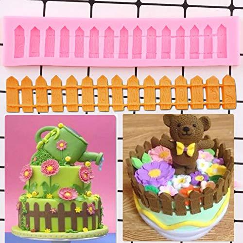 ZPZZPY Molde De Silicona conBorde DePastel De Valla 3D DIYCumpleaños Cupcake Topper Fondant Herramientas De Decoración De Pasteles Caramelo Chocolate Gumpaste Molde