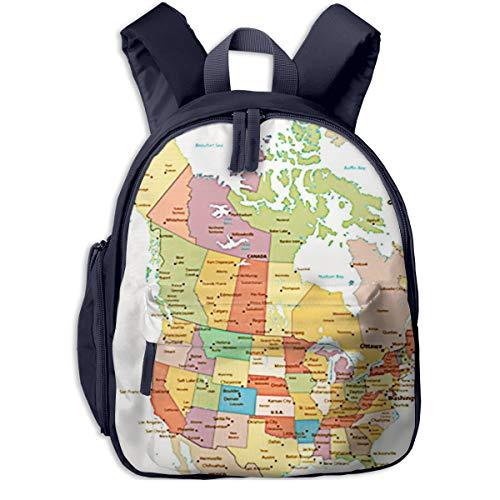 Mochilas Infantiles, Bolsa Mochila Niño Mochila Bebe Guarderia Mochila Escolar con Mapa político de Color de América para Niños De 3 A 6 Años De Edad