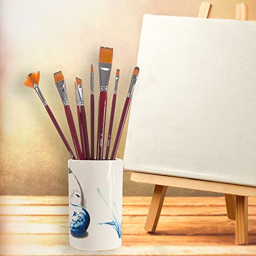 ColorBliss-Artist Paint Brush Set of 8 Styles-Carry Case-Golden Nylon Bristles-Create with Oils-Acrylic Painting Media-Watercolors-Gouache-Face Painting-Art Student or Professional-Long Handles