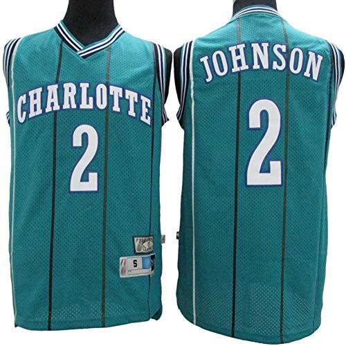 YZQ Jersey De Las Mujeres para Hombres - Charlotte Hornets # 2 Larry Johnson - NBA Retro Transpirable Sweat-Absorbent Basketball Jersey Sin Mangas Camiseta,S(165~170cm/50~65kg)