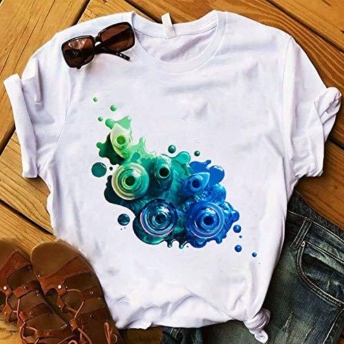 WFQDT Damen-T-Shirt mit 3D-Fingernagellack, modisch, niedlicher Druck, T-Shirt für Damen Gr. XXL, Gjs21119