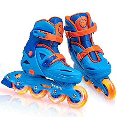 Locavun 5 Size Adjustable Light up Inline Skates for Kids, Hard Shell Roller Blades for Girls and Boys