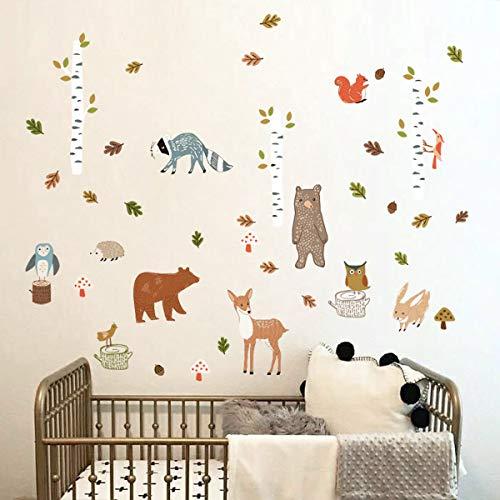 decalmile Pegatinas de Pared Animales del Bosque Abedul Árbol Vinilos Decorativos Oso Ciervo Búho Adhesivos Pared Habitación Infantiles Niños Bebés Guardería (H: 79cm)