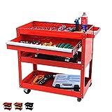 Big Tool Cart,4-Wheel Tool Cart,Rolling Tool Cart,Big Tool Storage Cart,Tool Cart with Ball-Bearing Slides,Tool Cart&Tool Chest for Garage and Warehouse (Red)