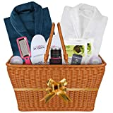 The I want to Impress You Luxury Double Bath Spa Gift Basket for Women and Men. Great Wedding Anniversary Gift. Premium Quality and Permanent Use Items Highlighted by 2 Luxury Velour Robes (DOUBLE)