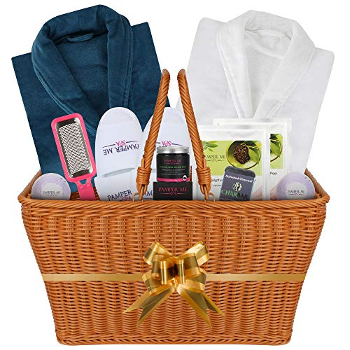 The I want to Impress You Luxury Double Bath Spa Gift Basket for Women and Men. Great Wedding Mothers Day Gift. Premium Quality and Permanent Use Items Highlighted by 2 Luxury Velour Robes (DOUBLE)