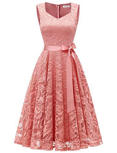 Gardenwed Damen Elegant Spitzenkleid Strech Herzform Abendkleid Cocktailkleider Partykleider Blush L