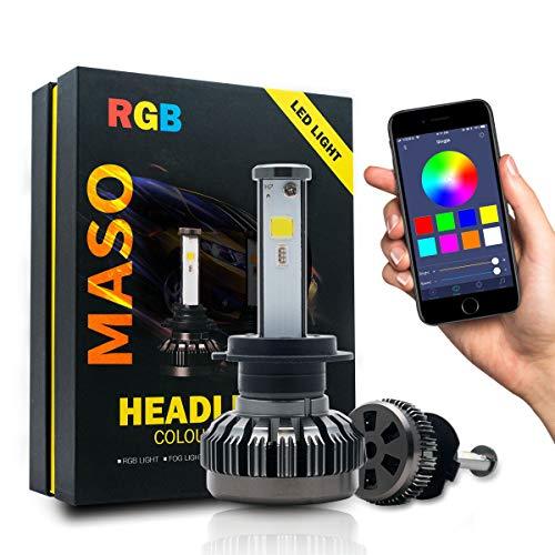 Riloer Bombillas LED para Coche H7, 2 Bombillas de Colores RGB para Faros Delanteros de 80 W 6000 K, Control de Aplicaciones,...