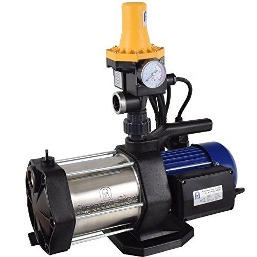 Agora-Tec® AT-Hauswasserwerk-5-1300-3DW, 5 stufige Kreiselpumpe mit max: 5,6 bar und max: 5400l/h und Druckschalter mit Trockenlaufschutz