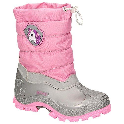 BOWS® -Leo- Mädchen Jungen Winter Stiefel Schnee Schuhe gefüttert Einhorn Unisex Kinder Winterboots Warmfutter Schurwolle auch als Limited Unicorn Edition, Schuhgröße:20, Farbe:rosa