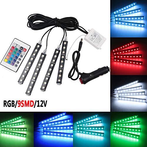 TABEN Lot de 4 bandes lumineuses à LED pour intérieur de voiture 36 LED DC 12 V Multicolore Musique Kit d'éclairage sous le tableau de bord avec télécommande sans fil et chargeur de voiture