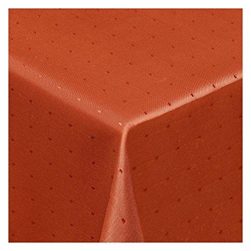 Tischdecke Stoff Damast Jacquard Textil Tischtuch Punkte Dots Points Sonderposten eckig 130x220 cm in Orange