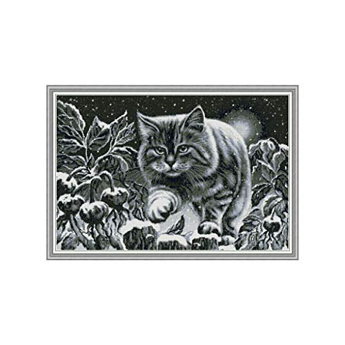 Great Features Of Xdodnev Black Cat in The Snowy Night DIY Handmade Needlework Counted 14CT Printed ...