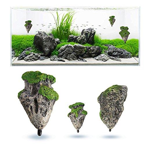 SymbolLife 2pcs Aquarium Verzierung Dekoration Schwimmenden Felsen Ausgesetzt Steine Künstlich (1x Klein + 1x Medium)