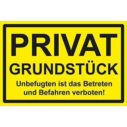 Privatgrundstück Schild Unbefugten ist das Betreten und Befahren verboten 30 x 20 cm Hartschaumplatte 3mm dick Parkverbot Privat Schild Grundstück Parken verboten Schild Halteverbot Gelb