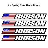 4 piece Custom Bicycle Frame Name USA Decal Sticker Set - road bike cycling mountain bike - Black Background