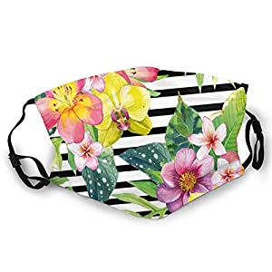 Fashion Comfortable Windproof mask,Bouquet With Lily Dahlia Palm Begonia Leaves Orchid Flowers On A Striped Background,Printed Facial decorations for adult