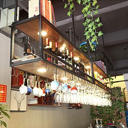 Wine Rack - Amerikanischen Landhausstil Schmiedeeisen Holz Regal Lagerung Laminat Bar Dekoration Hängen Weinregal (größe : 100 * 30 * 80)