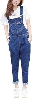 Qitun Mujer Peto Vaquero con Bolsillo En Pecho Mono Jeans Casual Suelto Fit Pantalones Ocio Estilo Jeans