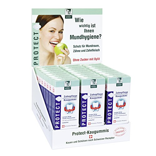 Baders Protect tandverzorging kauwrubber uit de apotheek. Display met 24 verpakkingen. Per verpakking 16 kauwgummi-vierkanten. Suikervrij met xylit. PZN 04451478
