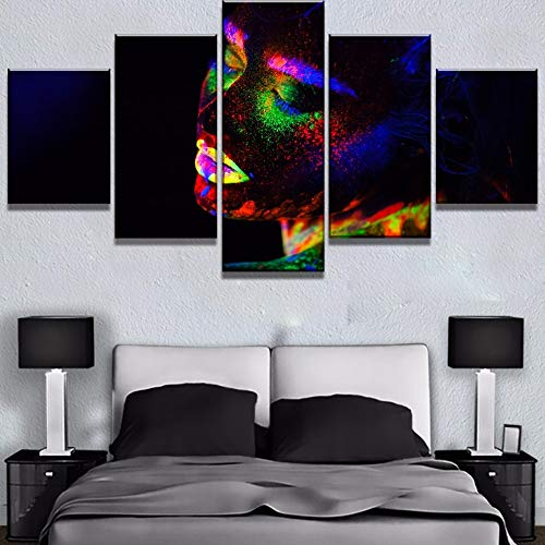 5 Canvas paintings Canvas Art Fluorescent Beautiful Girl Modern Decorative Paintings on Canvas for Home Decorations Wall Decor Frameless