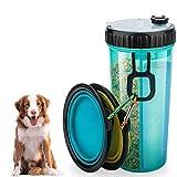 Bottiglia Acqua per Cani - Dispenser Portatile e Contenitore Borraccia 2 in 1 a Doppia Camera, con 2 Ciotole Pieghevoli Alimentatore per All'aperto Bottiglia Viaggio Portatile per Animali Domestici