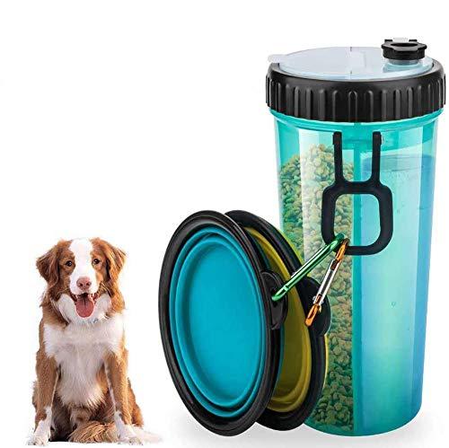 Bottiglia Acqua per Cani - Dispenser Portatile e Contenitore Borraccia 2 in 1 a Doppia Camera, con 2 Ciotole Pieghevoli Alimentatore per All\'aperto Bottiglia Viaggio Portatile per Animali Domestici