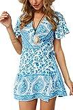 MisShow Damen V-Ausschnitt Strandkleid A-Linie Sommer Boho Kleid Causal leichtes Mini Gr. S