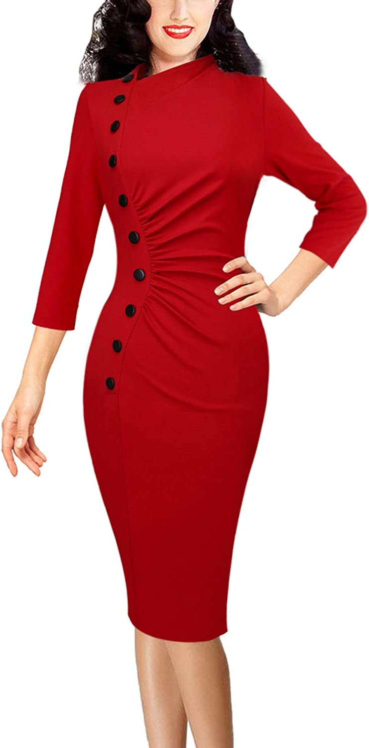 VFSHOW Womens Vintage Retro Ruched Buttons Work Business Party Pencil Dress