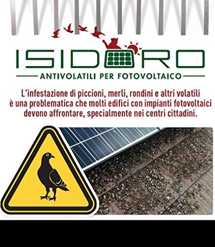 Isidoro Kit anti pigeons, universel, inoxydable, pour panneaux photovoltaïques de marque Accessoires nécessaire à l'installation inclus - 42 mt. di perimetro noir