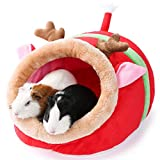 JanYoo Small Pet Gerbil Hedgehog Guinea Pig Bed Accessories Cage Toys Bearded Dragon House Hamster Supplies Habitat Ferret Rat for Christmas (XL, Reindeer)
