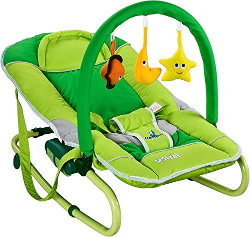 Caretero Astral Babyschaukel Kinderliege | Schaukelfunktion Spielbogen Mobile Zusammenklappbar Grün