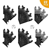 Wood Metal Oscillating Saw Blades,20 Pcs Multitool Quick Release Saw Blades Kit Fit Dewalt Fein Multimaster Rockwell Milwaukee Bosch Dremel Makita Rockwell with 2 C-Clip Adapter